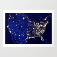 america Art Prints featuring America by 2sweet4words Designs