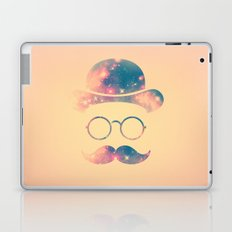 Retro Face with Moustache & Glasses / Universe - Galaxy Hipster Laptop & iPad Skin