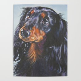 long haired Dachshund art portrait from an original painting by L.A.Shepard Poster