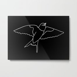 Sparrows (Black and White Birds) Metal Print