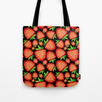 strawberry Tote Bags featuring Strawberry by LaDa