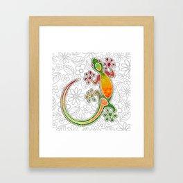 Gecko Floral Tribal Art Framed Art Print