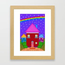 A Whimsical Neighborhood Framed Art Print