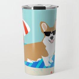 Corgi Summer Beach Day Sandcastles Dog Art Travel Mug