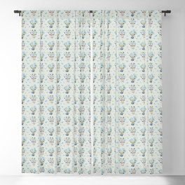 Watercolor cow and giraffe Blackout Curtain