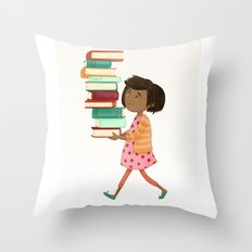 Library Girl 4 Throw Pillow