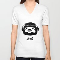 sloth V-neck T-shirts featuring Sloth by Max Las