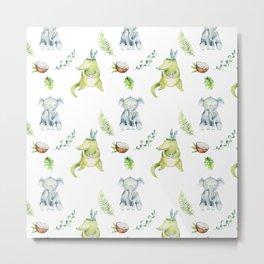 Hand drawn green gray watercolor tropical elephant crocodile pattern Metal Print
