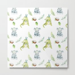 Hand drawn green gray watercolor tropical elephant crocodile pattern Metal Print