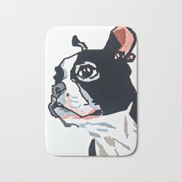 Boston Terrier Dog Portrait Bath Mat