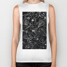 White ink, black card board. Graphic art, ink spring flowers Biker Tank