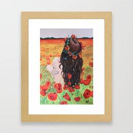 Poppies's girl Framed Art Print