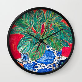 Prayer Plant in Blue-and-White Pot on Swan Table Cloth After Matisse Painting Wall Clock