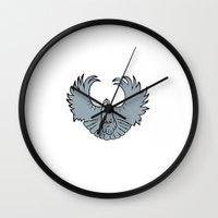 pigeon Wall Clocks featuring pigeon by Schmucky Duck