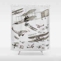 airplanes Shower Curtains featuring airplanes1 by Кaterina Кalinich