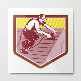 Roofer Roofing Worker Retro Metal Print