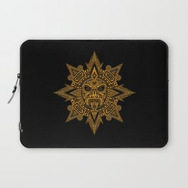 Ancient Yellow and Black Aztec Sun Mask Laptop Sleeve