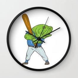 Largemouth Bass Baseball Player Batting Cartoon Wall Clock