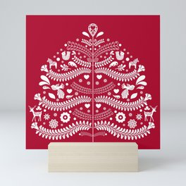 Scandinavian Folk Art Christmas Tree Mini Art Print