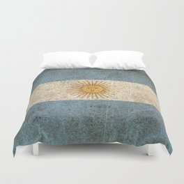 Old and Worn Distressed Vintage Flag of Argentina Duvet Cover