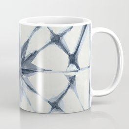 Shibori Starburst Indigo Blue on Lunar Gray Coffee Mug