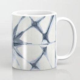 Shibori Starburst Indigo Blue on Lunar Gray Coffee Mug