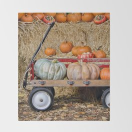 Wagon with Pumpkins Throw Blanket