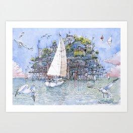 La Citta' sul mare Art Print
