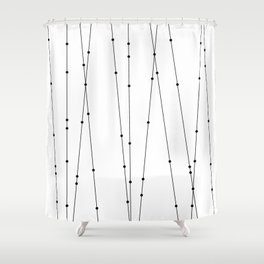 Contemporary Intersecting Vertical Lines in Black and White Shower Curtain