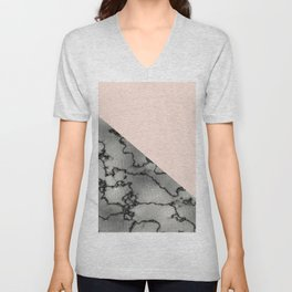 Peach and silver marble metallic Unisex V-Neck