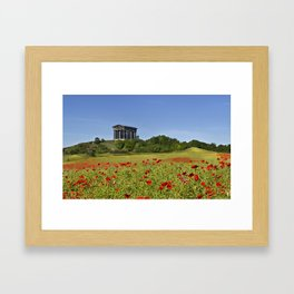 Penshaw monument above red popies Framed Art Print