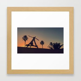Devil's Nest silhouetted during a Los Angeles sunset Framed Art Print