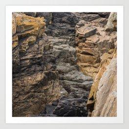 Bretagne - black rock formations between brown rock Art Print