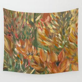 Floral orange print Wall Tapestry