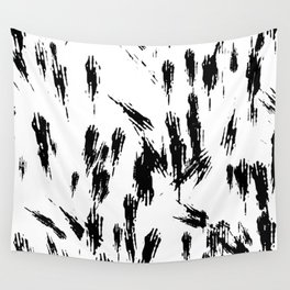 Black and White Brush Strokes Wall Tapestry