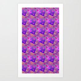 Patchwork Hearts Art Print