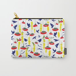 Flowers and Birds Repeated Pattern Carry-All Pouch