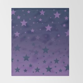 Blue to Indigo Ombre Stars Pattern Throw Blanket