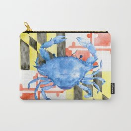 Watercolor Maryland flag and blue crab Carry-All Pouch