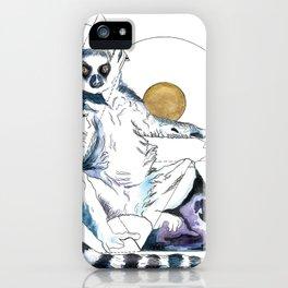 Ring Tailed Lemur; sun worship iPhone Case