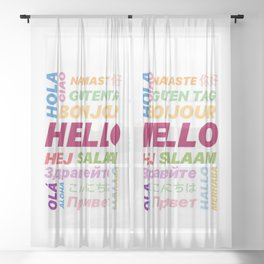 "Multilingual ""Hello"" Digital Art Sheer Curtain"