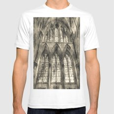 Rochester Cathedral Stained Glass Windows Vintage White MEDIUM Mens Fitted Tee