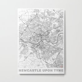 Newcastle upon Tyne Map Line Metal Print