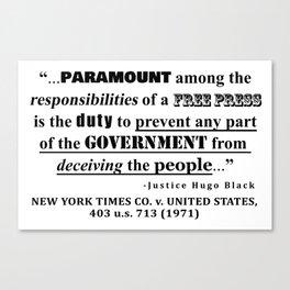 Free Press Quote, NEW YORK TIMES CO. v. UNITED STATES, 403 u.s. 713 (1971) Canvas Print