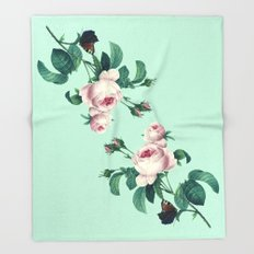 Roses Mint Green + Pink Throw Blanket