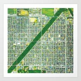 Aerial of Tree Row in Sapporo, Japan Art Print