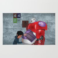 big hero 6 Area & Throw Rugs featuring Big Hero 6 Fan Art by Visherryl