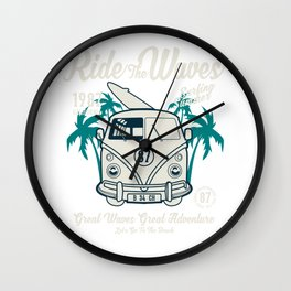 Ride The Waves California Surfing Summer Wall Clock
