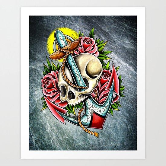 trad skull anchor Art Print