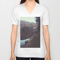 cabin V-neck T-shirts featuring Julia Cabin by Noah Loethen